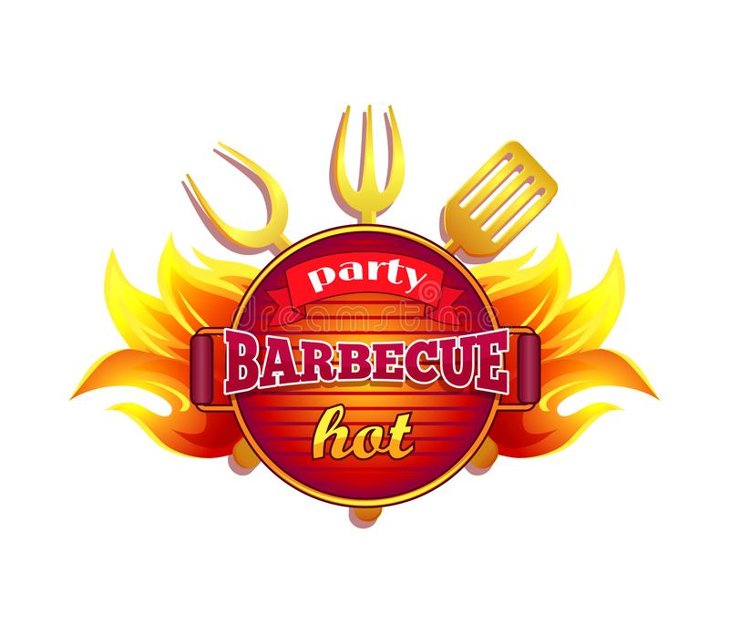 Partyjnego grilla BBQ ikony wektoru Gorąca ilustracja ilustracji