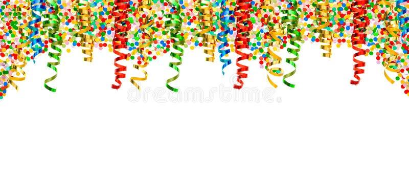 Partyjnej dekoraci granicy confetti wakacji wężowaty tło obrazy stock