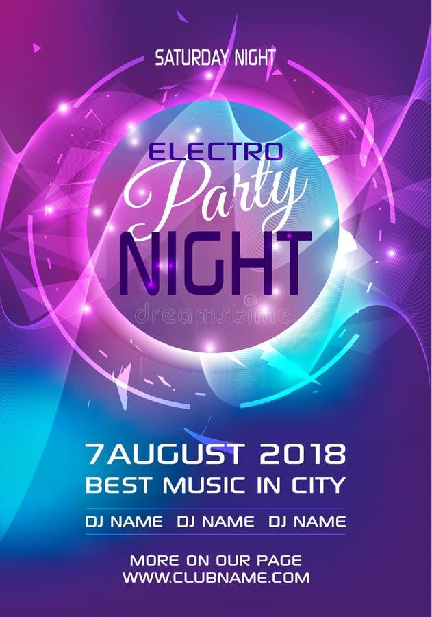 Partyjnej electro nocy ulotki szablonu kolorowy wektor w błękicie i v royalty ilustracja