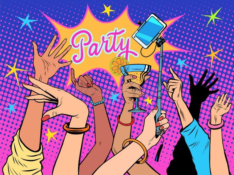 Partyjni dancingowi selfie napoje royalty ilustracja