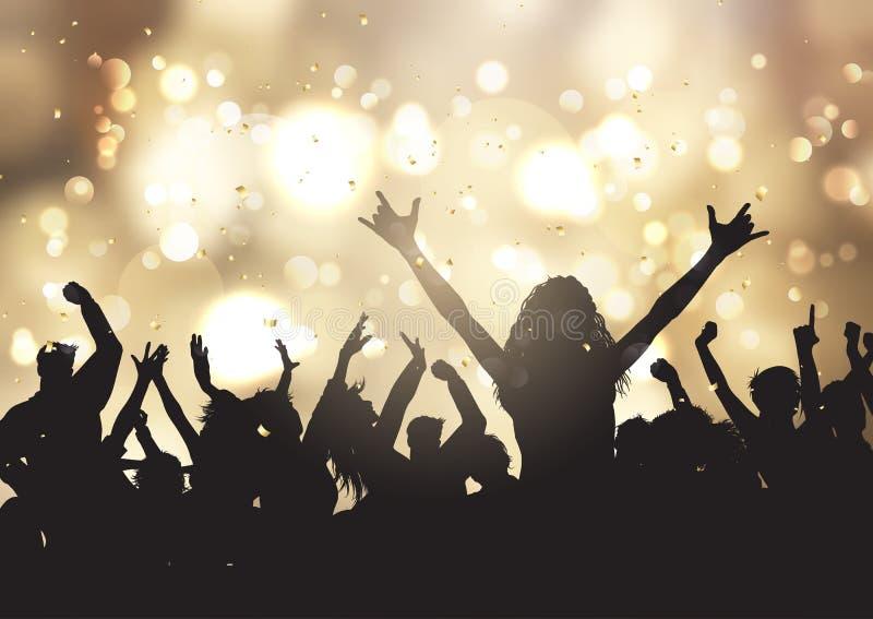 Partyjni ludzie na złocistym bokeh zaświecają tło ilustracja wektor