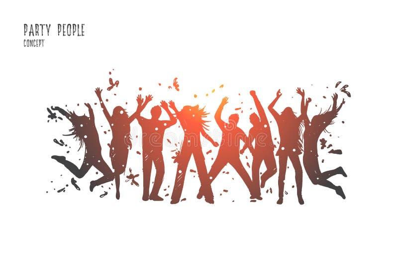 Partyjni ludzie pojęć Ręka rysujący odosobniony wektor ilustracja wektor