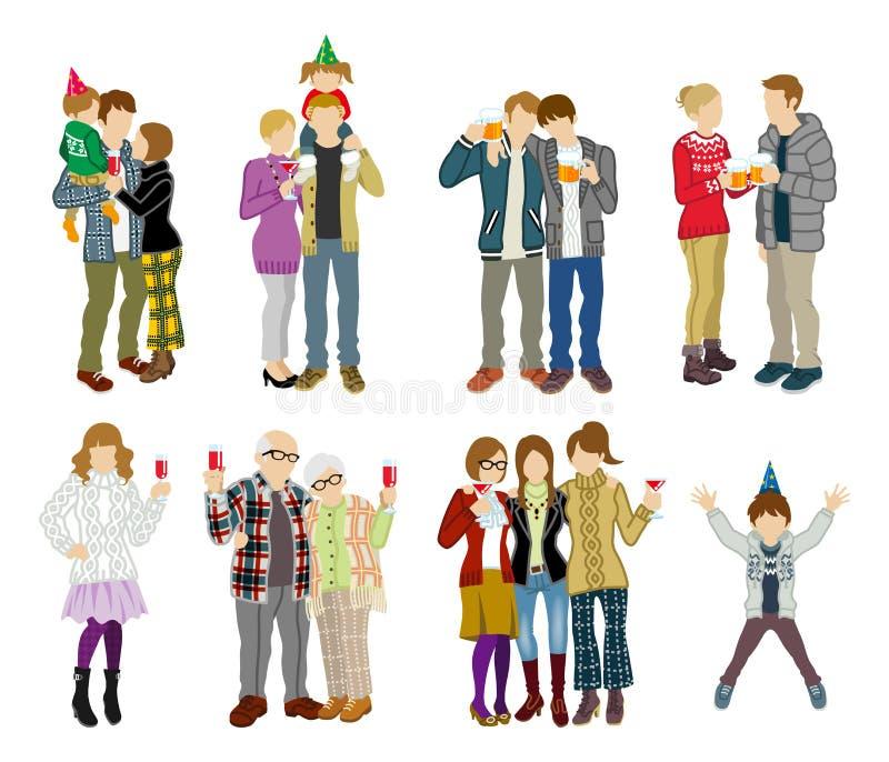 Partyjni ludzie ustawiający - Wielo- pokolenie ilustracja wektor