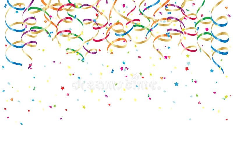 Partyjni Streamers i Confetti royalty ilustracja
