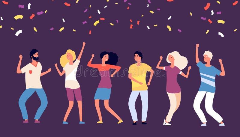 Partyjni tancerze Szczęśliwi młodzi persons tanczą, świętują na korporacyjnym wakacje, radośni kobieta mężczyzny tanowie z spada  ilustracji