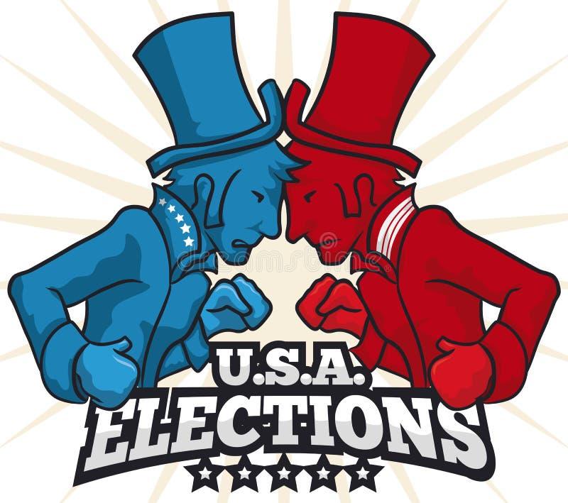 Partyjni zawodnicy z kapeluszami i Bokserskimi rękawiczkami w Amerykańskich wyborach, Wektorowa ilustracja royalty ilustracja