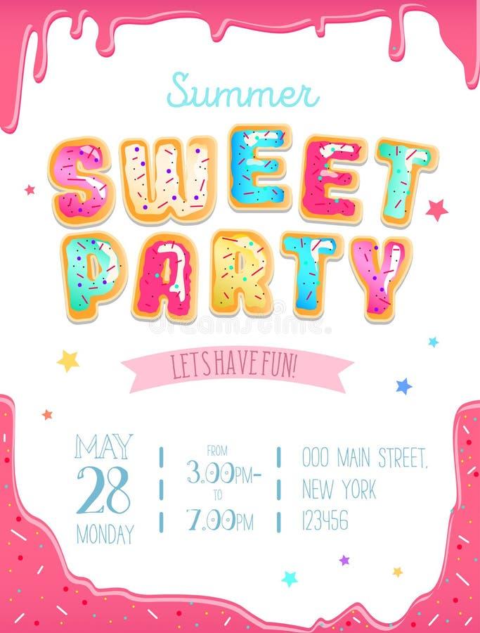 Partyjny śliczny zaproszenie projekt Słodki pączka przyjęcia plakat dla narodziny ilustracja wektor