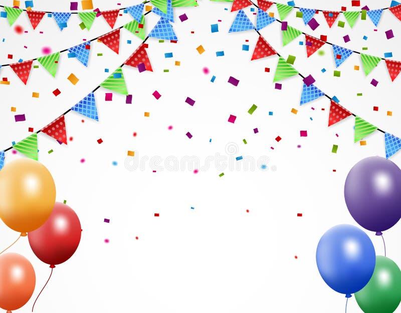 Partyjny bakground z kolorową chorągiewką i confetti ilustracja wektor