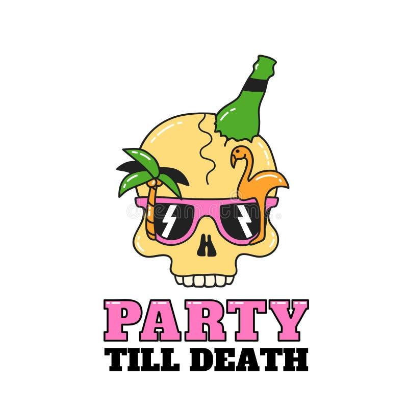 Partyjny czaszka projekt dla ulotek lub koszulki ilustracja ilustracji