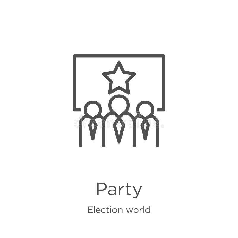 partyjny ikona wektor od wybory światu kolekcji Cienka linii przyjęcia konturu ikony wektoru ilustracja Kontur, cienka linii przy royalty ilustracja