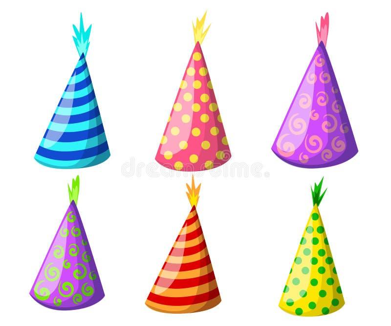 Partyjny kapelusz ustawiający odizolowywającym na bielu Urodzinowy kapeluszu set Wektorowa zabawy dekoracja Kolorowy niespodziank ilustracja wektor