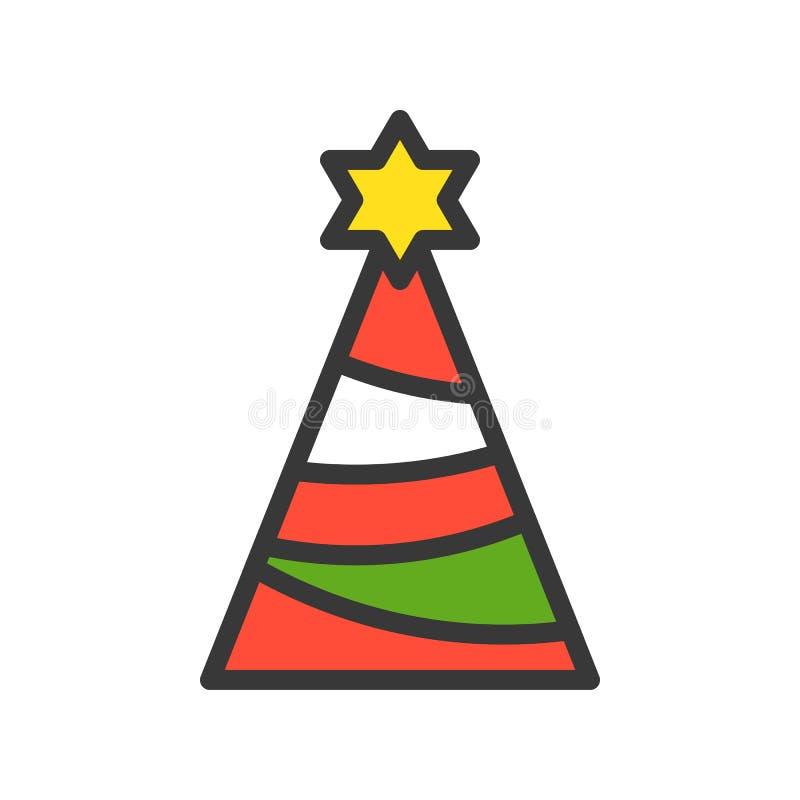 Partyjny kapelusz, Wesoło boże narodzenia odnosić sie ikona set, wypełniający konturu desi royalty ilustracja