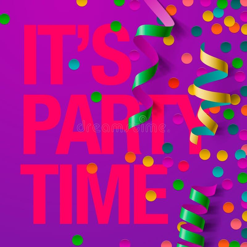 Partyjny projekta szablon z streamers i confetti ilustracja wektor