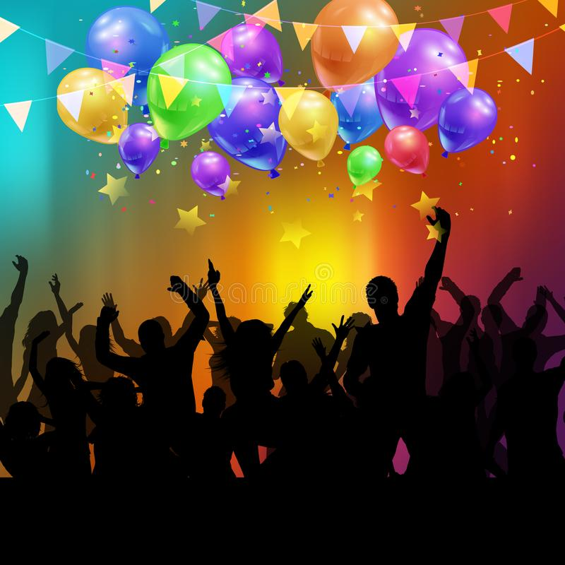 Partyjny tłum z balonami i confetti ilustracja wektor