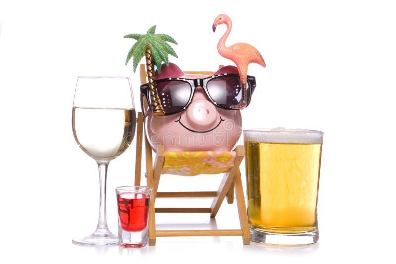 Partyjny wakacje z gorzały prosiątka bankiem fotografia royalty free