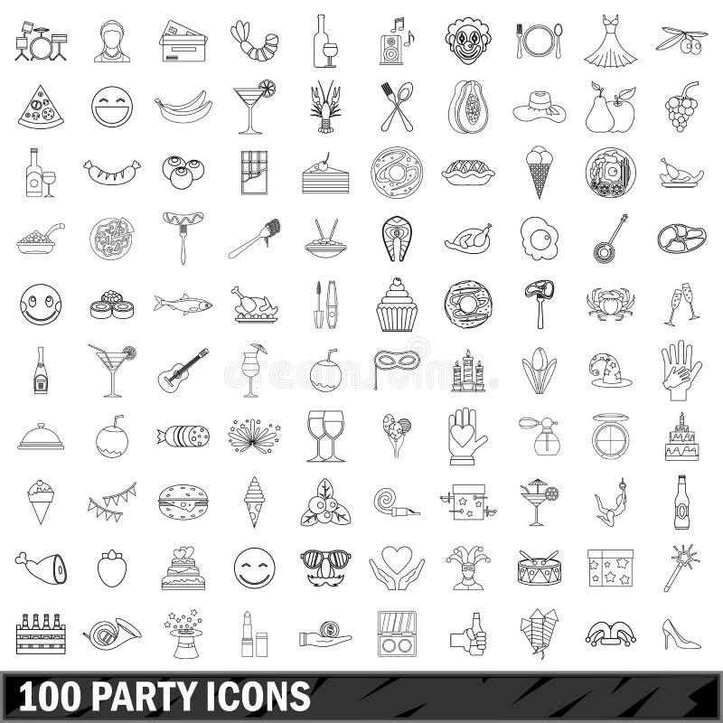 100 partyjnych ikon ustawiających, konturu styl ilustracji
