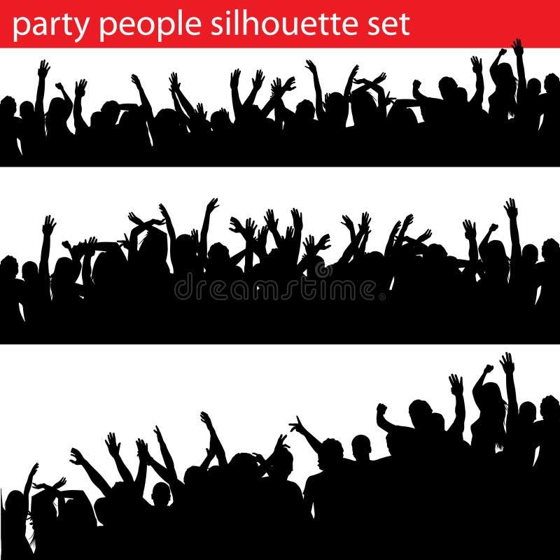 Partyleute-Schattenbildset lizenzfreie abbildung