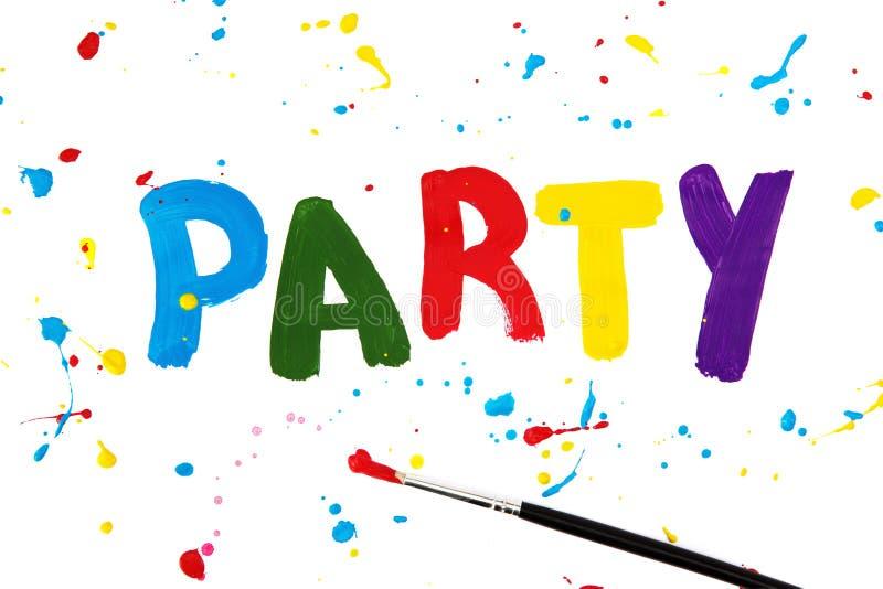 Partyzeichen auf Papier stockfotos