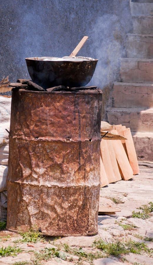 Parujący tamales dzielnicy styl obraz stock