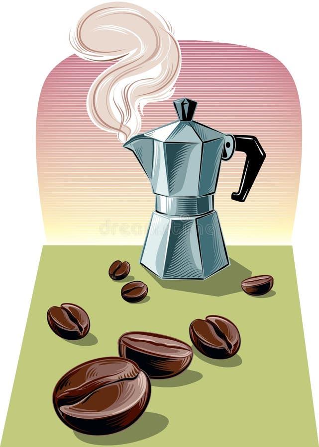 Parujący Włoski kawowy producent ilustracja wektor