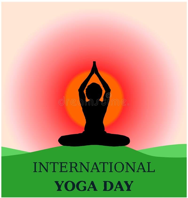 Parvastasna dell'insegna del fondo di giorno di yoga bello sulla siluetta a terra verde di alba di mattina illustrazione vettoriale