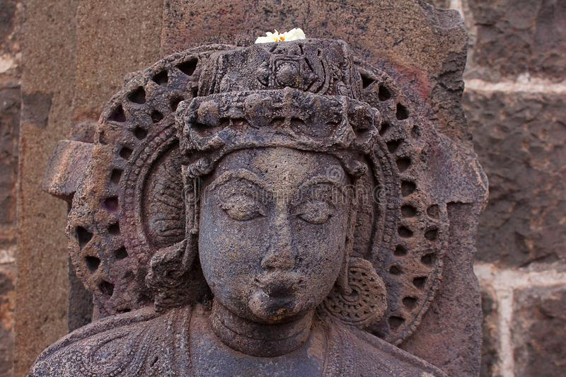Parvati Statue, Bhuleshwar Temple Entrance, Maharshtra. India royalty free stock photography
