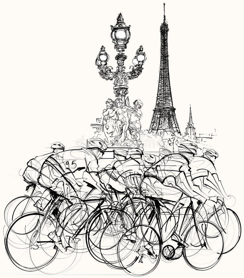 Paryż - cykliści w rywalizaci royalty ilustracja