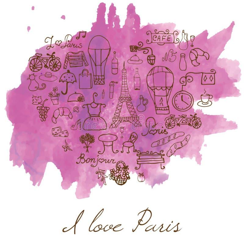 Paryż doodles elementy Ręka rysujący ustalony withefel wierza hodował cukiernianych kwiaty i bicykl Rysunkowa doodle kolekcja na  royalty ilustracja