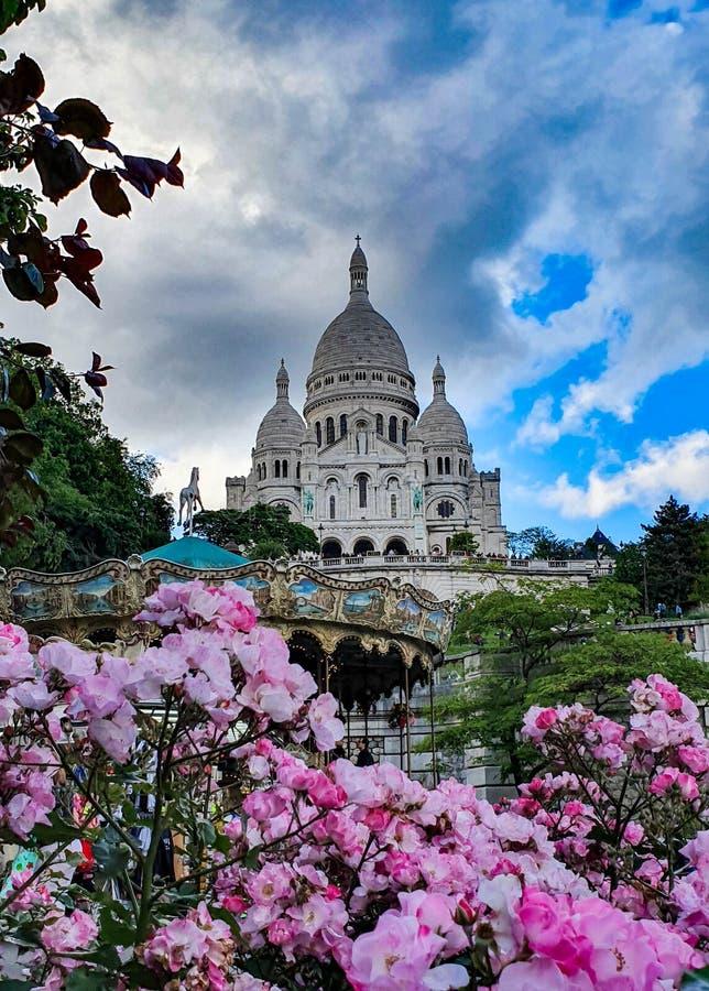 Paryż, Francja, Czerwiec 2019: Bazylika Święty serce Paryska Sacre-Coeur bazylika zdjęcia royalty free