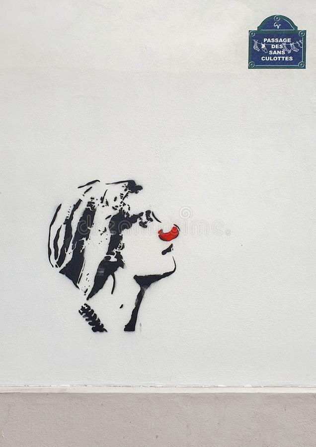 Paryż, Francja, Czerwiec 2019: Nowożytna uliczna sztuka obrazy royalty free