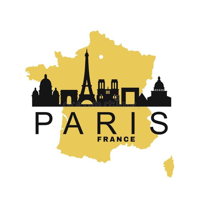 Paryż Francja i mapa royalty ilustracja