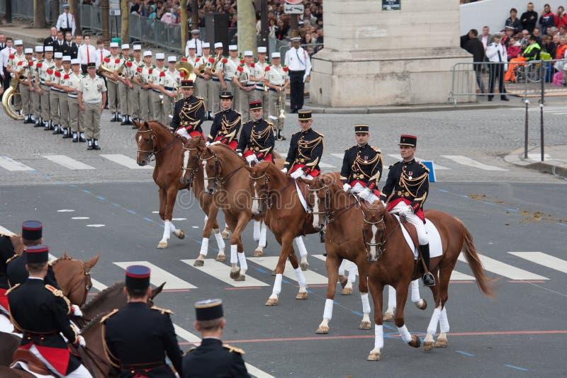 Paryż Francja, Lipiec, - 14, 2012 Equestrian republikanina Francuski strażnik bierze część w paradzie fotografia stock