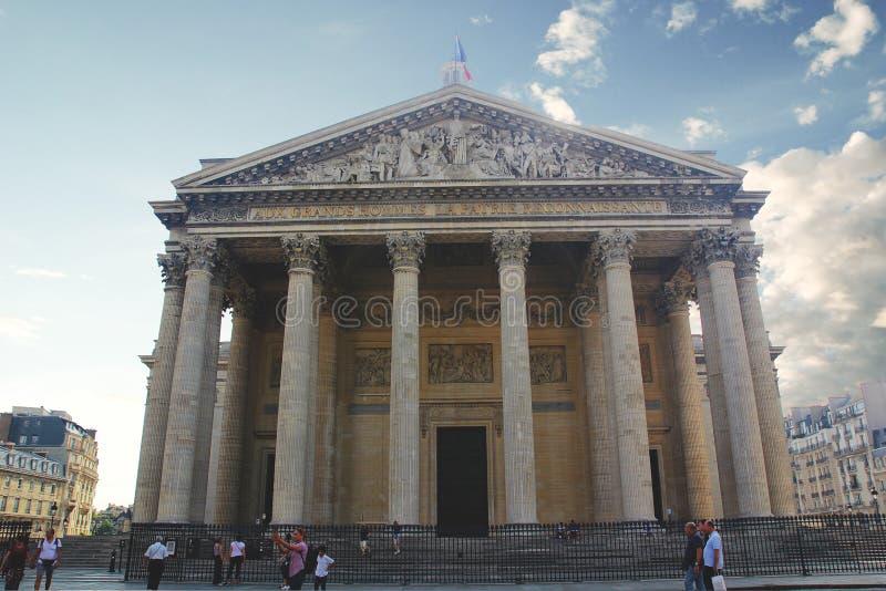 Paryż Francja, Sierpień, - 28, 2017: Piękny Panthéon budynek na niebie zdjęcie royalty free