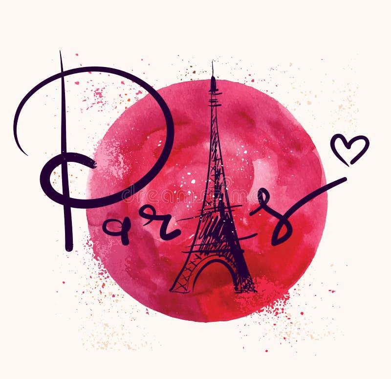 Paryż i czerwony okrąg royalty ilustracja