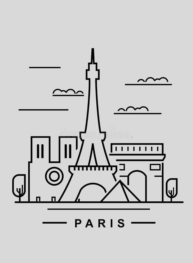 Paryż i punkt zwrotny ilustracja wektor