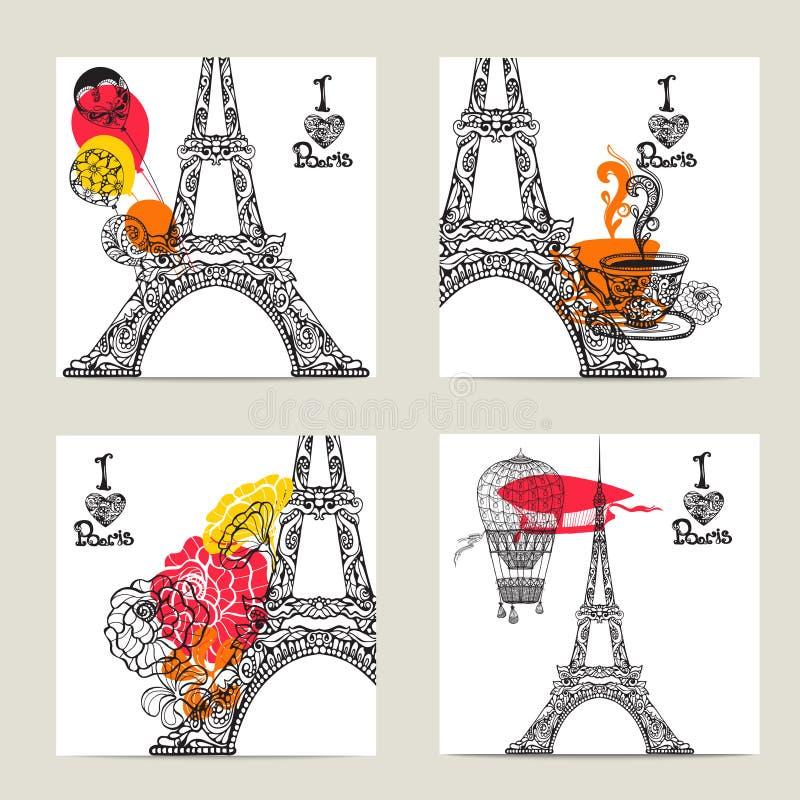 Paryż karty set ilustracji
