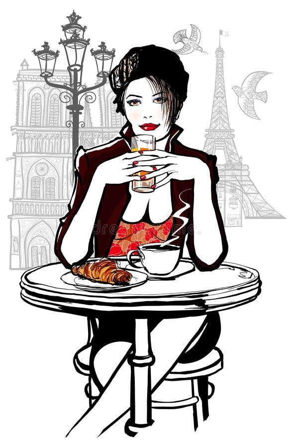 Paryż - kobieta na wakacyjnym mieć śniadanie ilustracja wektor