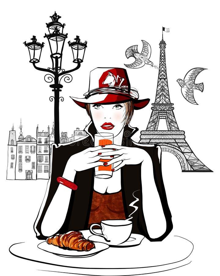 Paryż - kobieta na wakacyjnym mieć śniadanie ilustracji