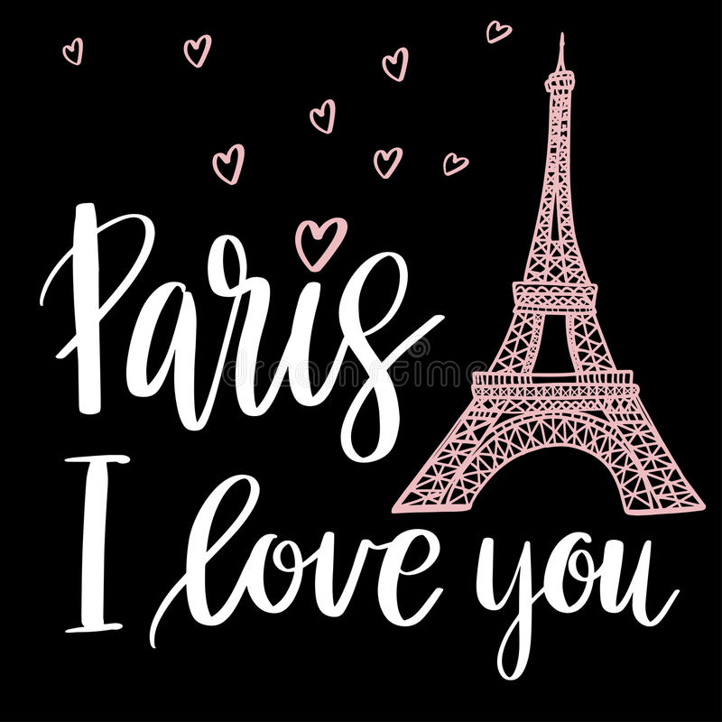 Paryż kocham ciebie ilustracji