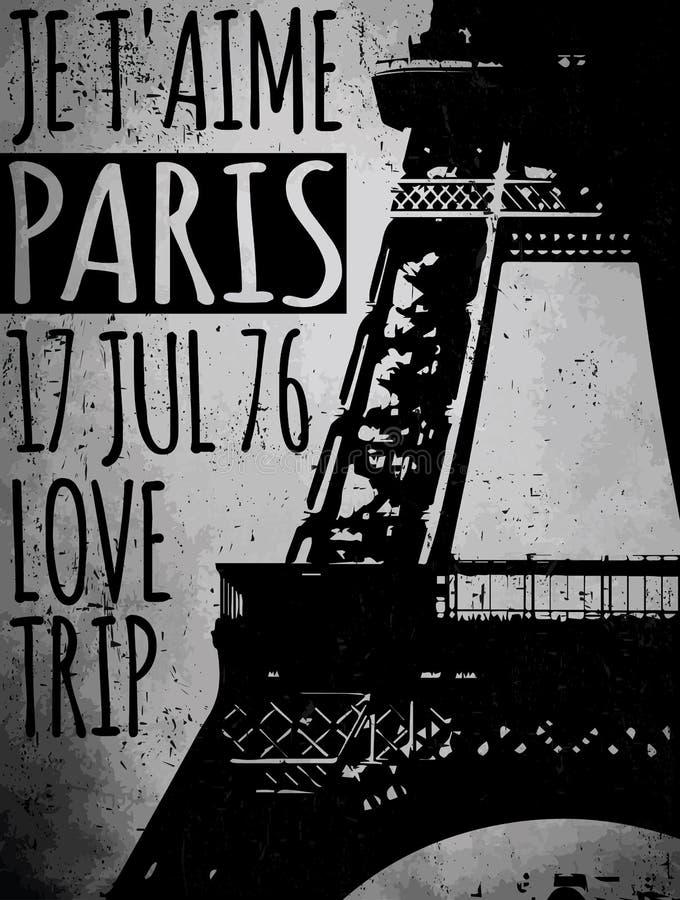 Paryż - miasto miłość i romantyka ilustracja wektor