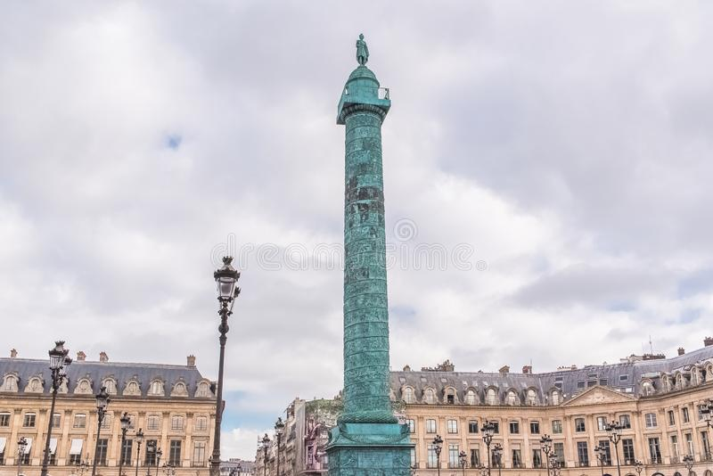 Paryż, miejsce Vendome kolumna zdjęcie royalty free