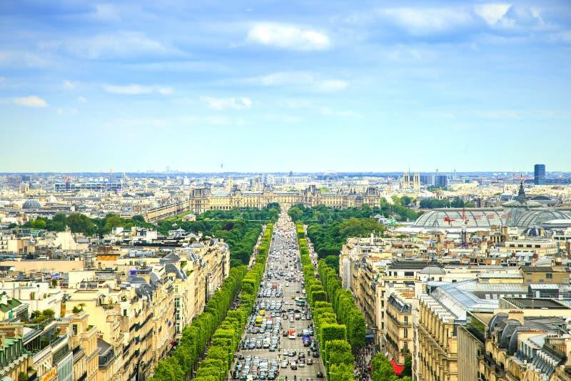 Paryż, panoramiczny widok z lotu ptaka czempiony Elysees. Francja obraz royalty free