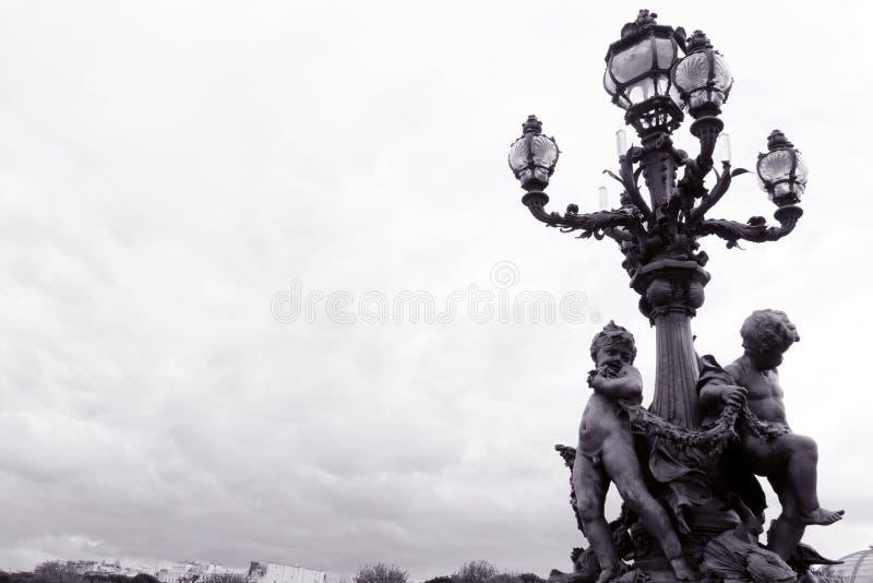 Paryż, Pont Alexandre III Bridżowy, ozdobna lampa obrazy stock