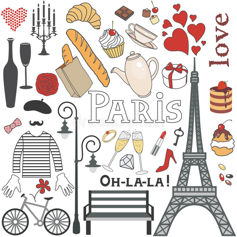 Paryż set ilustracja wektor