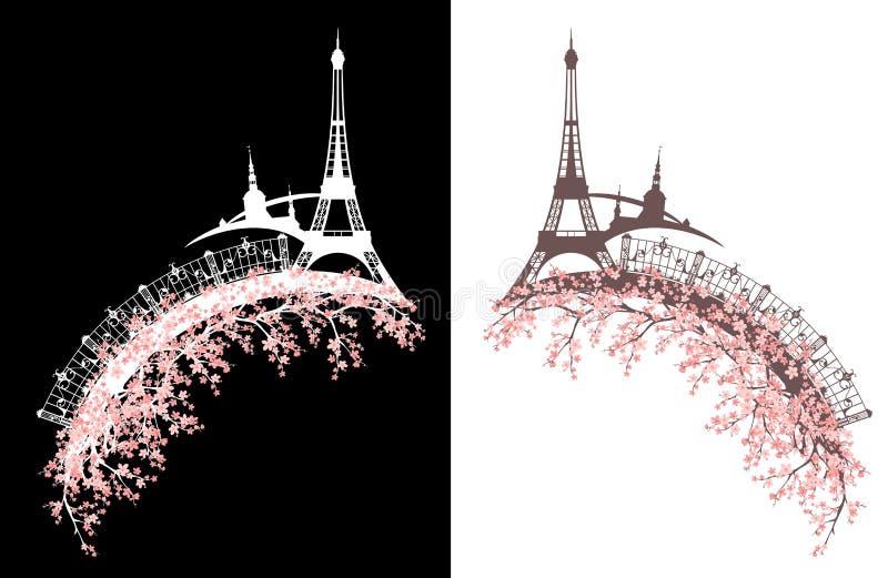 Paryż w wiosny okwitnięcia wektorowym projekcie ilustracji