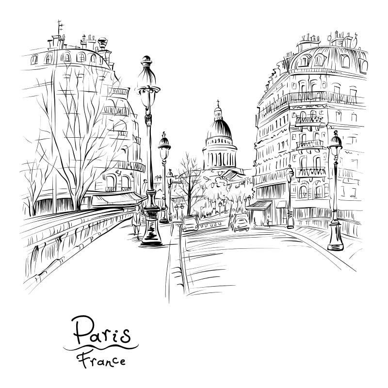 Paryż w zima ranku, Francja ilustracja wektor