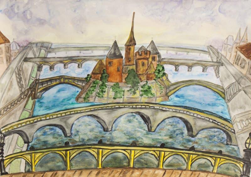 Paryż, watercolours ilustracji
