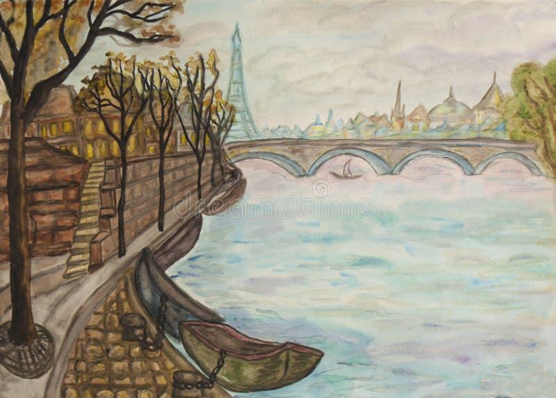 Paryż, watercolours ilustracja wektor