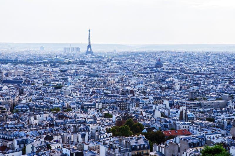 Paryż z wieżą eifla widzieć od bazyliki De Sacre Coeur kościół obrazy stock