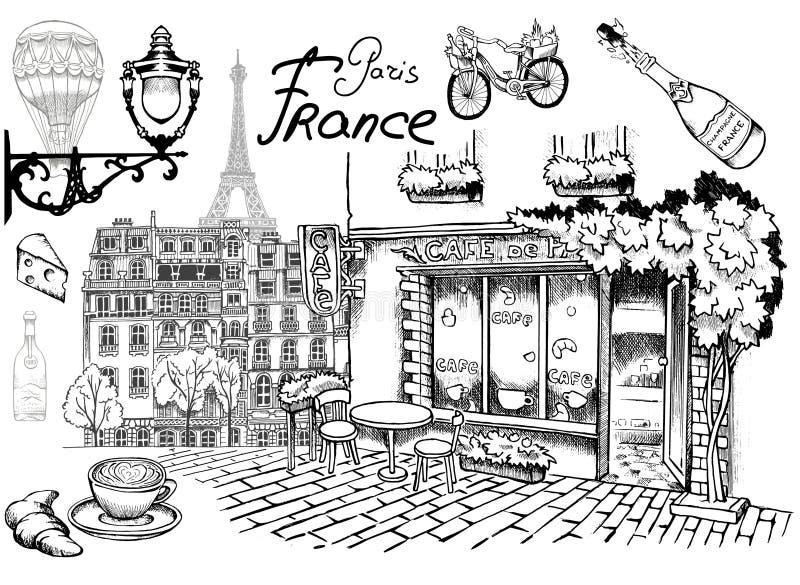 Paryżanin przegląda Paryskiej kawiarni na romantyczni uliczni przyciągania i szczegóły wyśmienity urok Paryż royalty ilustracja